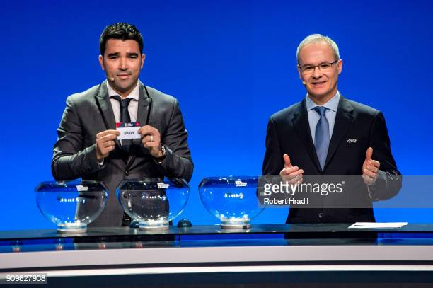 Deco former Brazilain football player shows the slip of Spain during the UEFA Nations League Draw 2018 at Swiss Tech Convention Center on January 24...