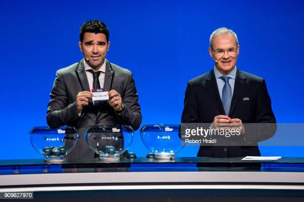Deco former Brazilain football player shows the slip of Switzerland during the UEFA Nations League Draw 2018 at Swiss Tech Convention Center on...