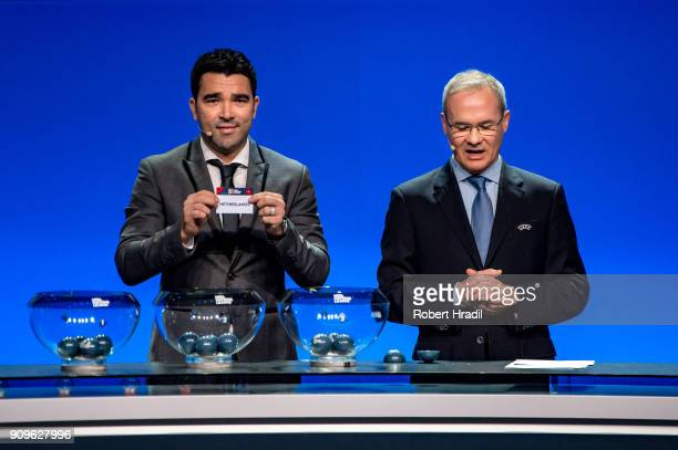 Deco former Brazilain football player shows the slip of The Netherlands during the UEFA Nations League Draw 2018 at Swiss Tech Convention Center on...