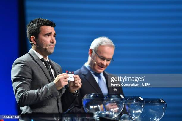 Deco in the company of UEFA Deputy General Secretary Giorgio Marchetti draws out the name of Italy during the UEFA Nations League Draw League A on...