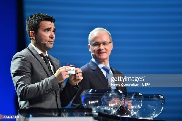 Deco in the company of UEFA Deputy General Secretary Giorgio Marchetti draws out the name of England during the UEFA Nations League Draw League A on...