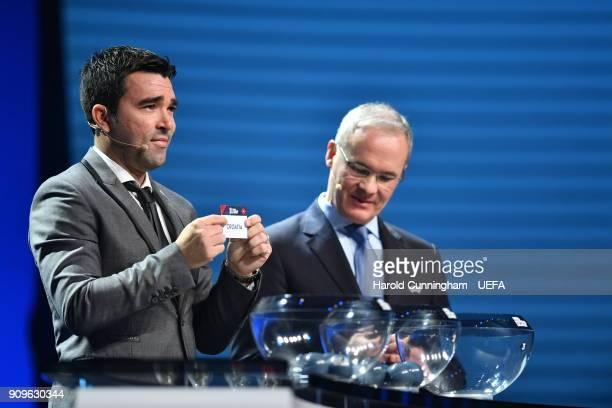 Deco in the company of UEFA Deputy General Secretary Giorgio Marchetti draws out the name of Croatia during the UEFA Nations League Draw League A on...