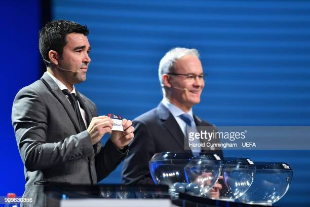 Deco in the company of UEFA Deputy General Secretary Giorgio Marchetti draws out the name of Germany during the UEFA Nations League Draw League A on...