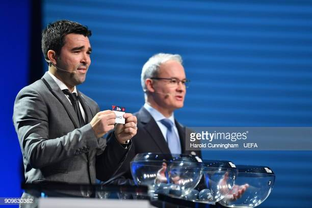 Deco in the company of UEFA Deputy General Secretary Giorgio Marchetti draws out the name of France during the UEFA Nations League Draw League A on...