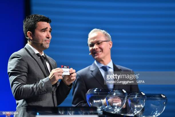 Deco in the company of UEFA Deputy General Secretary Giorgio Marchetti draws out the name of Belgium during the UEFA Nations League Draw League A on...