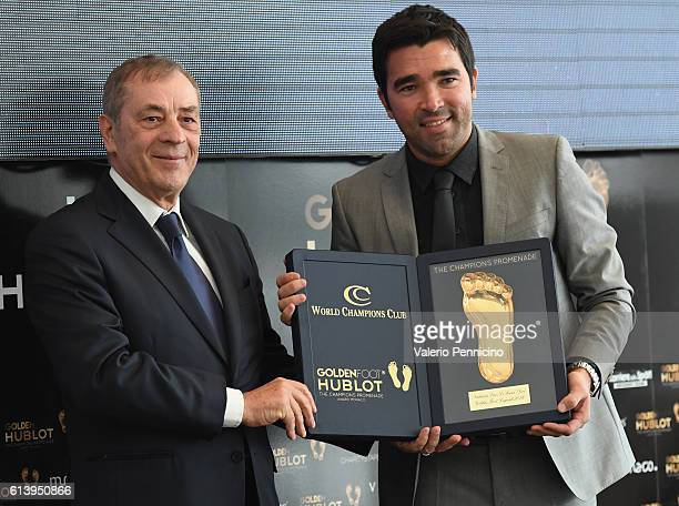 Deco is awarded by Antonio Cailendo during the Golden Foot Ceremony Award on October 11 2016 in Monaco Monaco