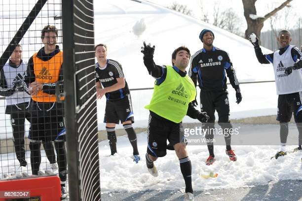 Deco John Terry Nicolas Anelka Salomon Kalou Michael Ballack of Chelsea during a snow ball fight after a training session in the Dome at the Chelsea...
