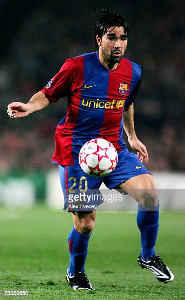 Deco of Barcelona handles the ball against Liverpool at the UEFA Champions League round of 16 first leg match at the Nou Camp Stadium February 21...