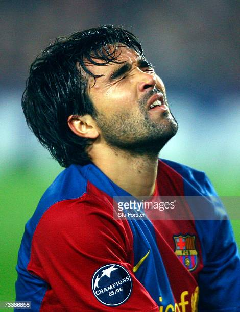 Deco of Barcelona reacts during a UEFA Champions League round of 16 first leg match against Liverpool at the Camp Nou Stadium February 21 2007 in...
