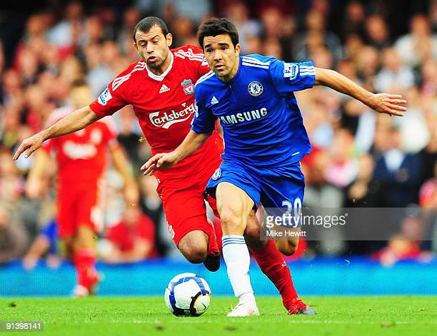 Deco of Chelsea takes on Javier Mascherano of Liverpool during the Barclays Premier League match between Chelsea and Liverpool at Stamford Bridge on...