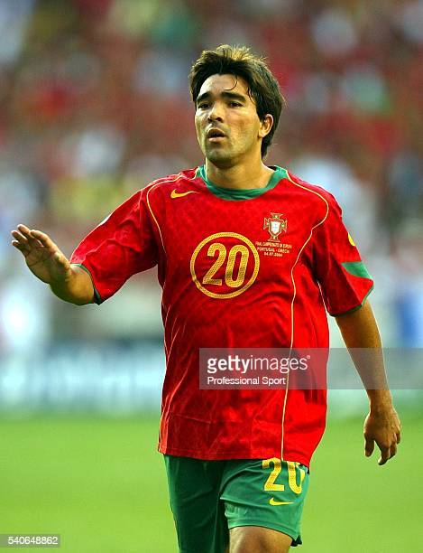 Deco of Portugal in action during the UEFA Euro 2004 Final match between Portugal and Greece at the Luz Stadium on July 4 2004 in Lisbon Portugal