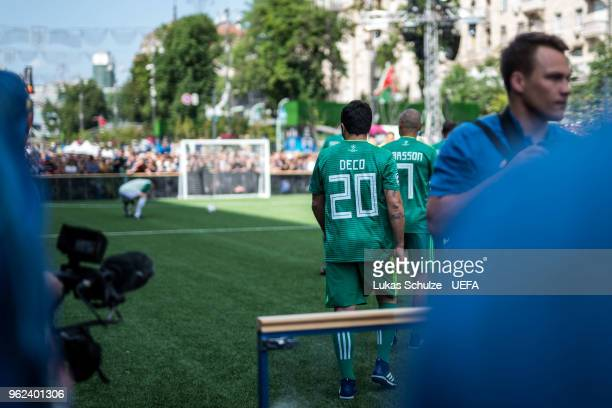 Deco of UEFA Champions League Legends enters the pitch prior to the Ultimate Champions Tournament at the Champions Festival ahead of the UEFA...