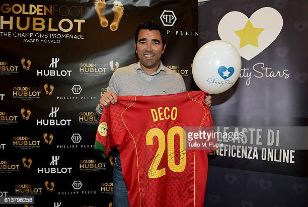 Deco shows signed memorabilia during the Golden Foot 2016 Award Ceremony day one at Fairmont Hotel on October 10 2016 in Monaco Monaco