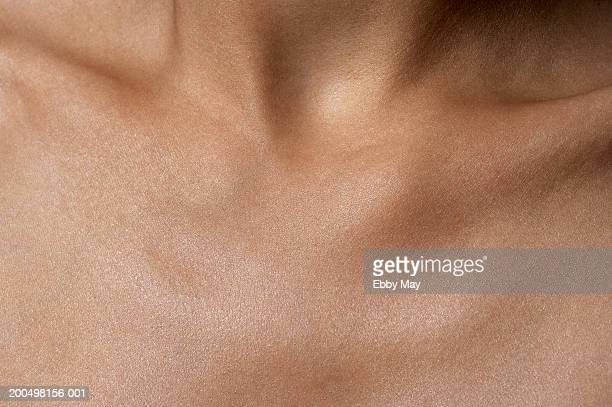 decollete of woman, close up - human skin stock pictures, royalty-free photos & images