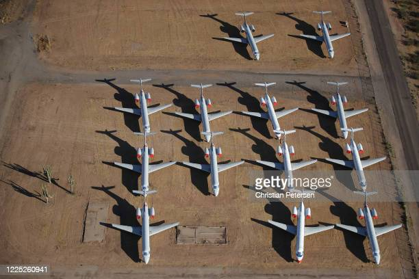 Decommissioned and suspended American Airlines commercial aircrafts are seen stored in Pinal Airpark on May 16 2020 in Marana Arizona Pinal Airpark...