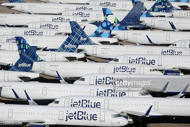 Decommissioned and suspended jetBlue commercial aircrafts are seen stored in Pinal Airpark on May 16, 2020 in Marana, Arizona. Pinal Airpark is the...