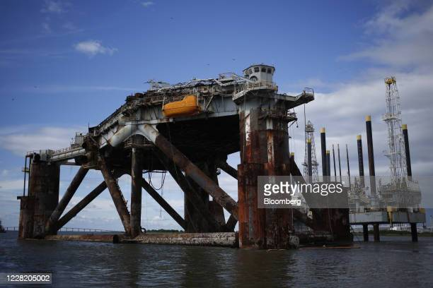 Decommissioned oil platform stands ahead of Hurricane Laura in Sabine Pass, Texas, U.S., on Tuesday, Aug. 25, 2020. Hurricane Laura is poised to...