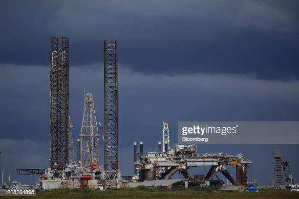 Decommissioned oil platforms stand ahead of Hurricane Laura in Sabine Pass, Texas, U.S., on Tuesday, Aug. 25, 2020. Hurricane Laura is poised to...