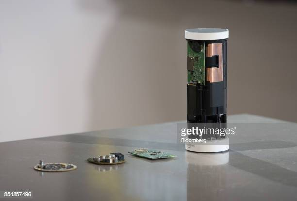 A deconstructed Amazoncom Inc Echo Plus device sits on display during the company's product reveal launch event in downtown Seattle Washington US on...