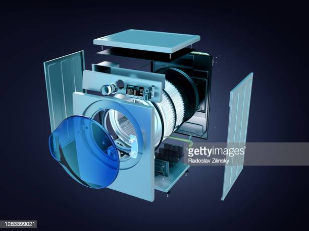 deconstructed dryer or washing machine - washing machine stock pictures, royalty-free photos & images