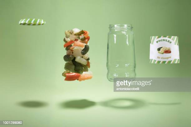 deconstructed pickle jar - jar stock pictures, royalty-free photos & images