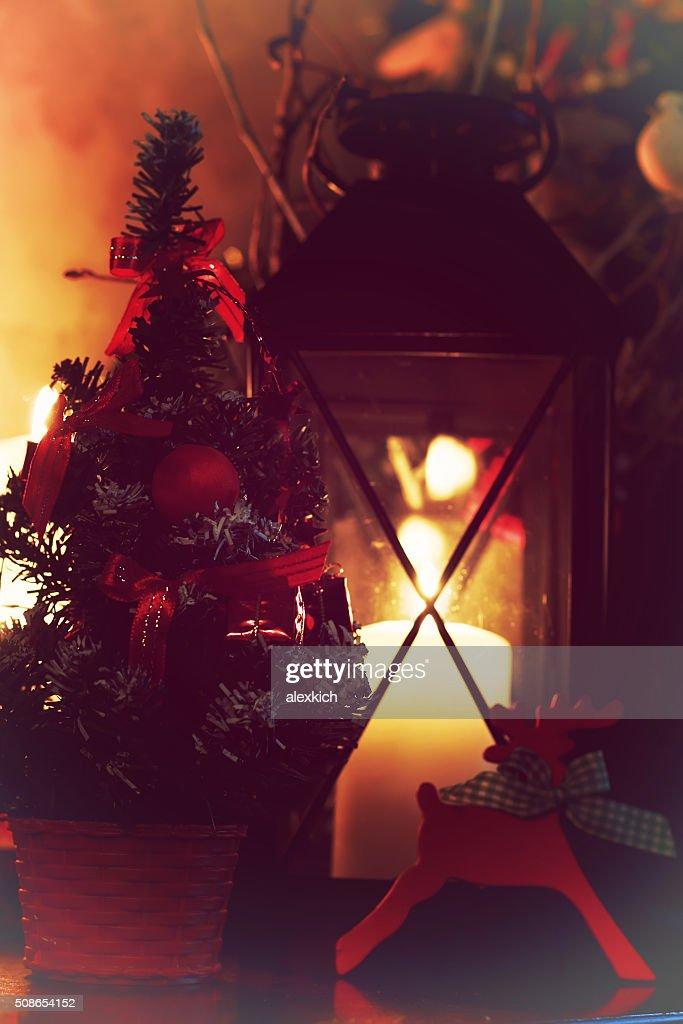 decor deer candle retro : Stock Photo
