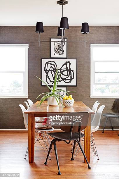 Decor dining details of actress Michaela Conlin's home are photographed for Domaine Home on April 23 2015 in Los Angeles California