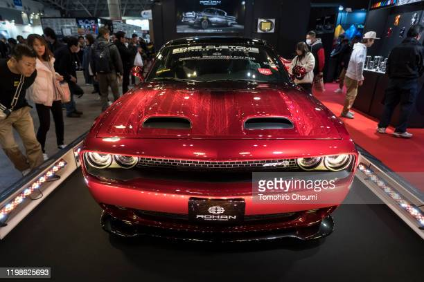 Decorated 2019 Dodge Challenger vehicle is displayed at the Tokyo Auto Salon 2020 on January 10, 2020 in Chiba, Japan. The motor show for modified...