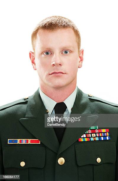 decorated american soldier with class a uniform - military uniform stock pictures, royalty-free photos & images