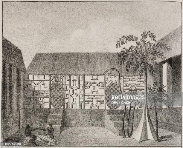Decorated Ashanti house Ghana Africa lithograph from Galleria universale di tutti i popoli del mondo ossia storia dei costumi religioni riti governi...