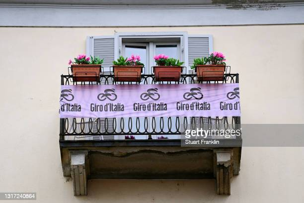 Decorated balcony on Piazza Duomo at start during the 104th Giro d'Italia 2021, Stage 3 a 190km stage from Biella to Canale / @girodiitalia / #Giro /...