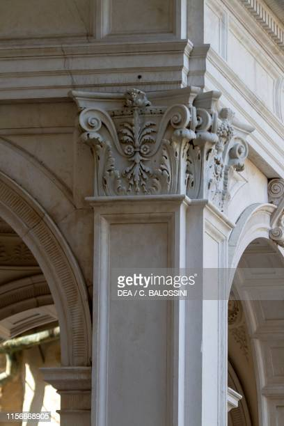 Decorated capital detail of the barrel vault facade of the Cathedral of Sant'Alessandro architect Angelo Bonicelli Neoclassical style Bergamo...