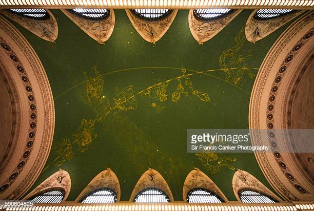 decorated ceiling of grand central station, nyc - grand central station stock photos and pictures