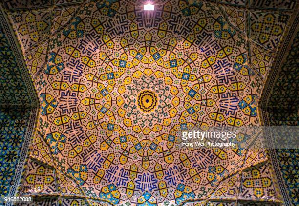 decorated ceiling, vakil mosque, shiraz, fars province, iran - shiraz fotografías e imágenes de stock