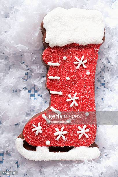 Decorated chocolate boot for Christmas
