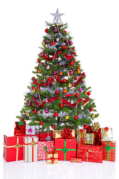 Decorated Christmas Tree And Presents Wall Art