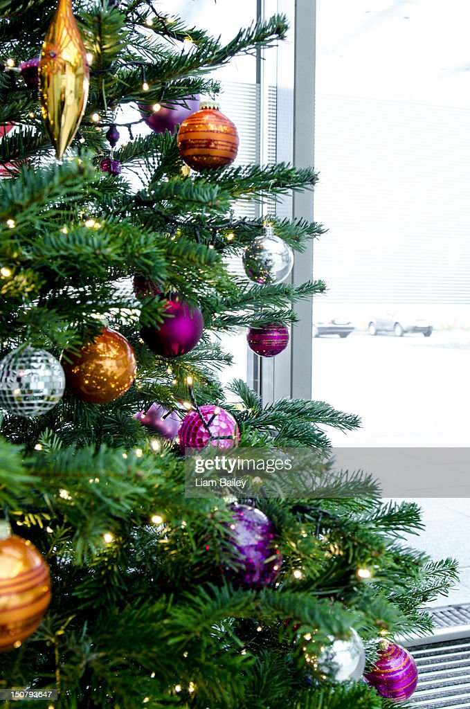 A decorated christmas tree in an office space : Stock Photo