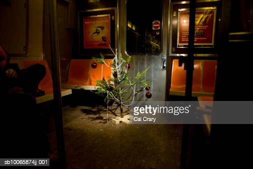 Decorated Christmas Tree In Subway Train Stock Photo Getty Images