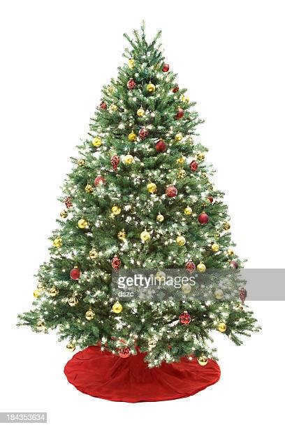 decorated christmas tree isolated on white - christmas tree stock pictures, royalty-free photos & images