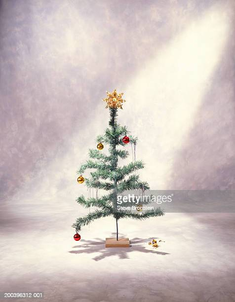 Decorated christmas tree on stand, broken bauble underneath on floor
