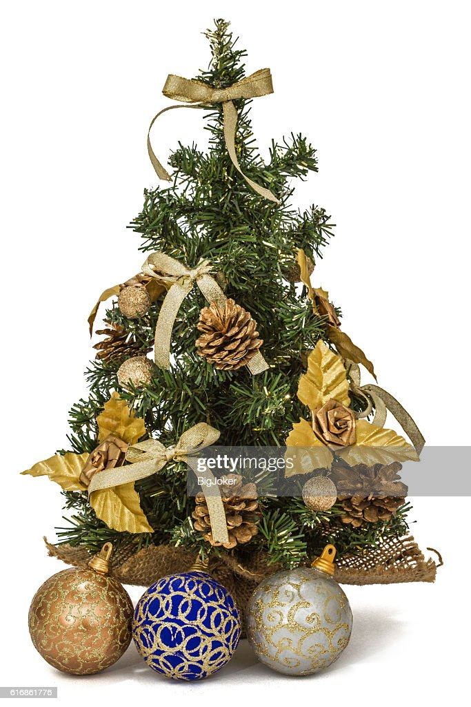 Decorated Christmas tree on white background : Stock Photo