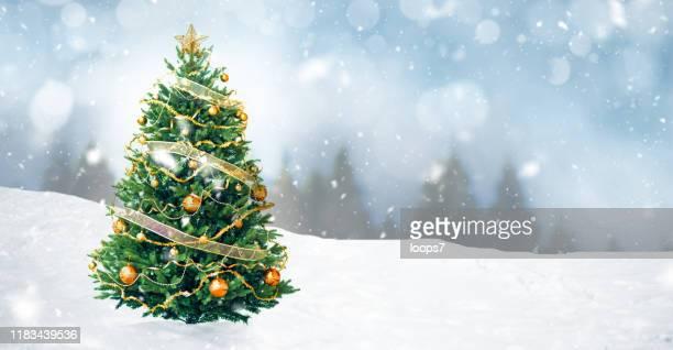 装飾されたクリスマスツリー - ビネット ストックフォトと画像