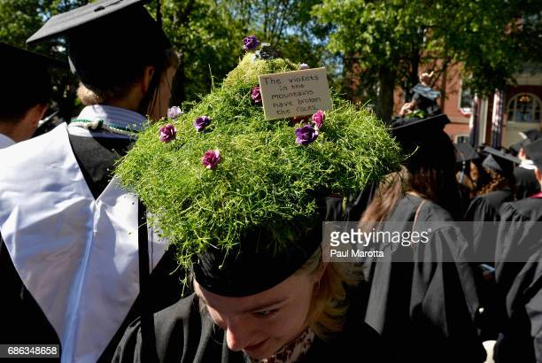 Decorated commencement caps at the 2017 Tufts University 161st Commencement at Tufts University Green on May 21 2017 in Medford Massachusetts Tufts...