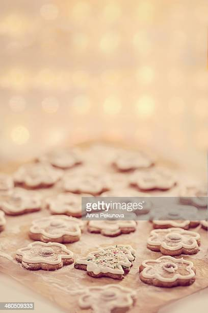 Decorated cookies against bokeh background