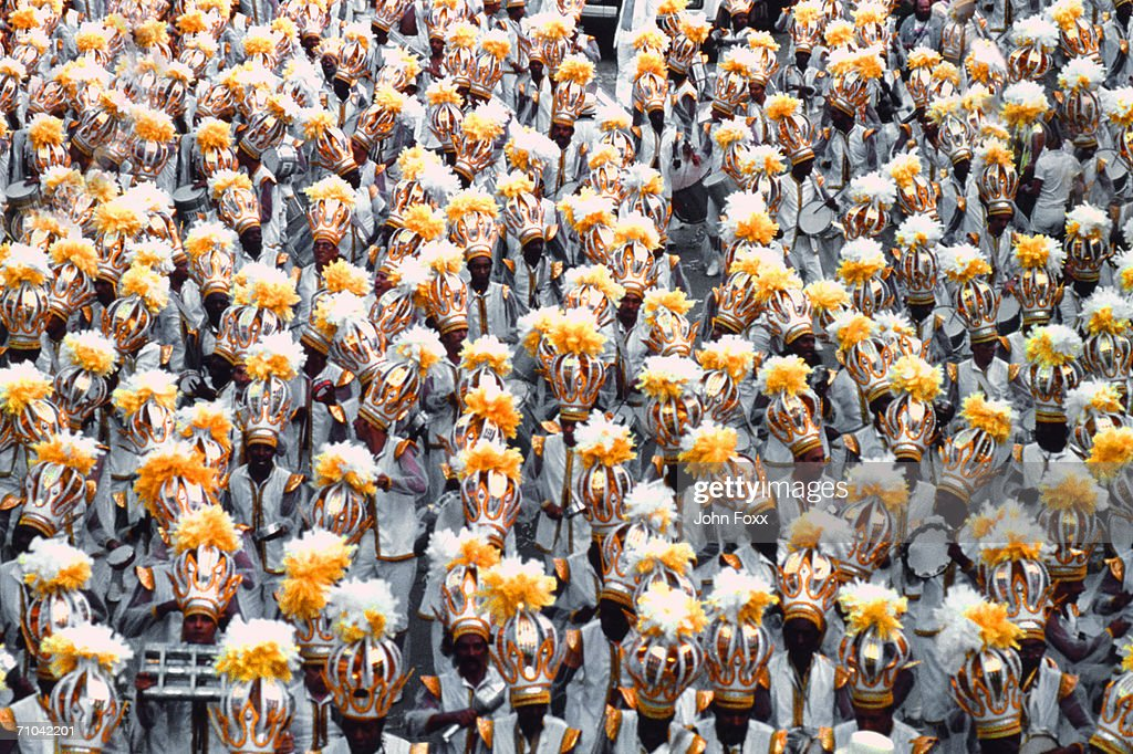 decorated crowd (view from above) : Stock Photo