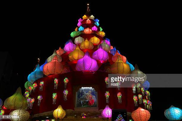 decorated dagdusheth halwai ganpati temple pune - diwali stock photos and pictures