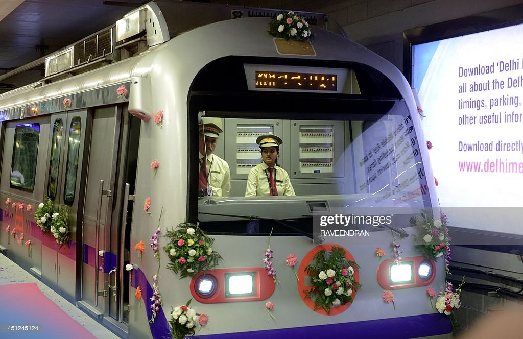 A decorated Delhi Metro train is pictured at the Mandi House