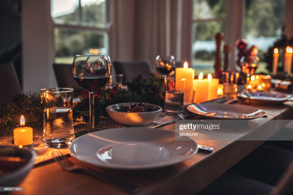 Decorated dining tablet on christmas eve. : Stock Photo