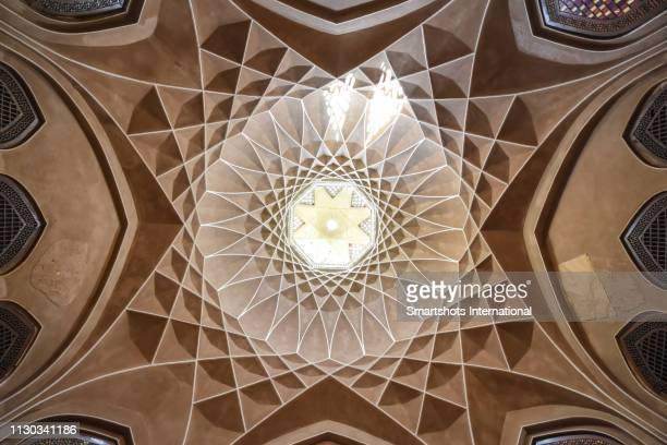 decorated dome of dowlat abad persian garden in yazd, iran - dome stock pictures, royalty-free photos & images