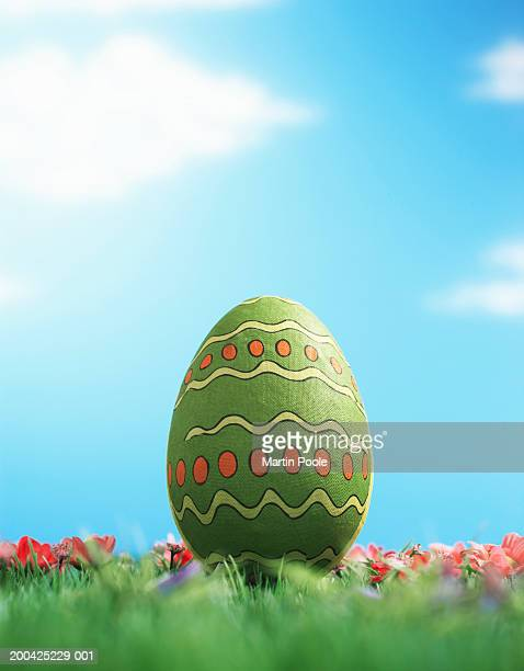 Decorated Easter egg amongst flowers on grass